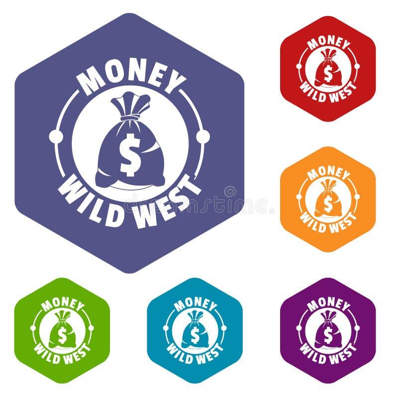 De pictogrammenvector van het geld wilde westen hexahedron stock illustratie