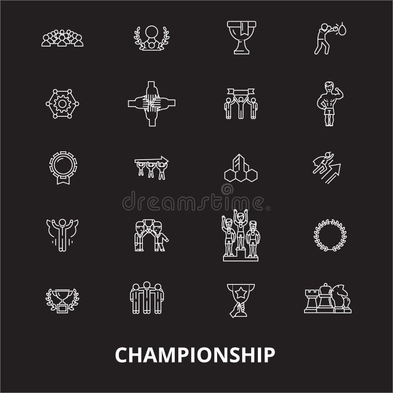 De pictogrammenvector van de kampioenschaps editable die lijn op zwarte achtergrond wordt geplaatst Illustraties van het kampioen vector illustratie