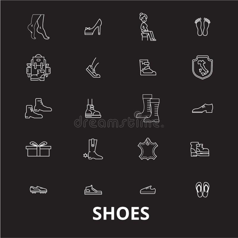 De pictogrammenvector van de schoenen editable die lijn op zwarte achtergrond wordt geplaatst Illustraties van het schoenen de wi vector illustratie