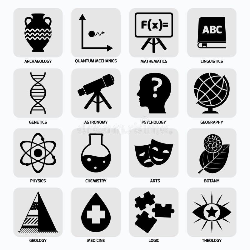 De pictogrammenzwarte van wetenschapsgebieden vector illustratie