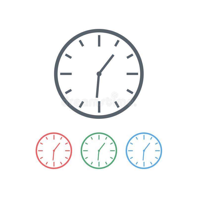 De pictogramreeks van klok is ronde vorm en met een wijzerplaat Het concept tijd Vector illustratie stock illustratie