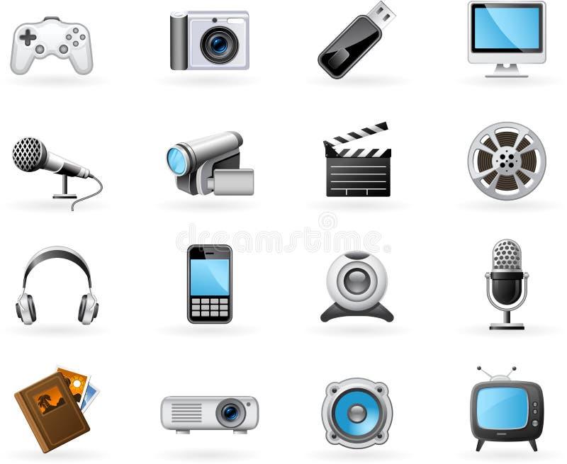 De pictogramreeks van verschillende media royalty-vrije illustratie