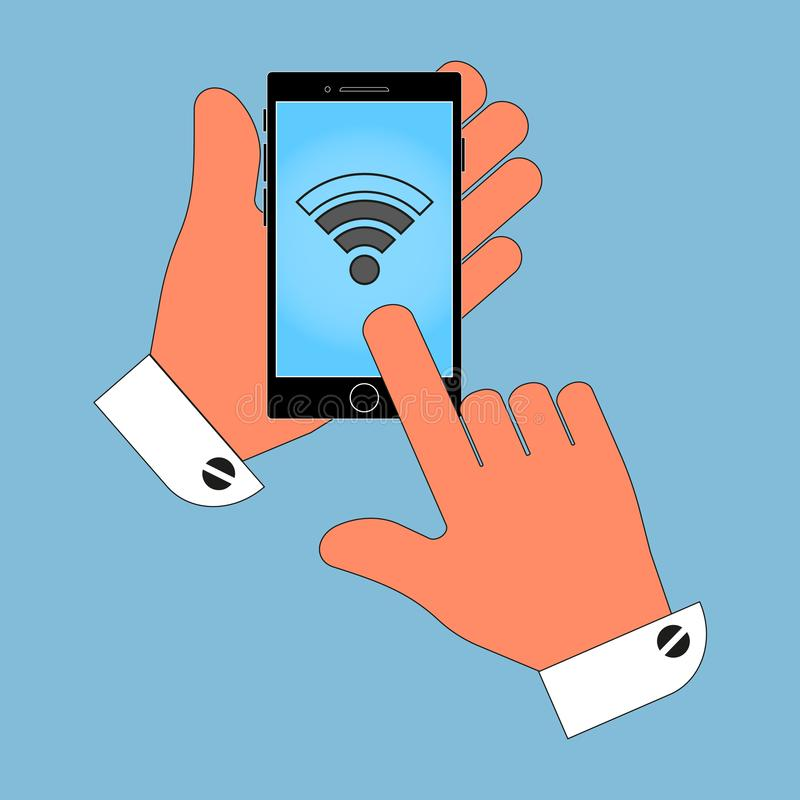 De pictogramtelefoon in zijn hand, het teken op het scherm van Internet, netwerk, isoleert op blauwe achtergrond S royalty-vrije illustratie