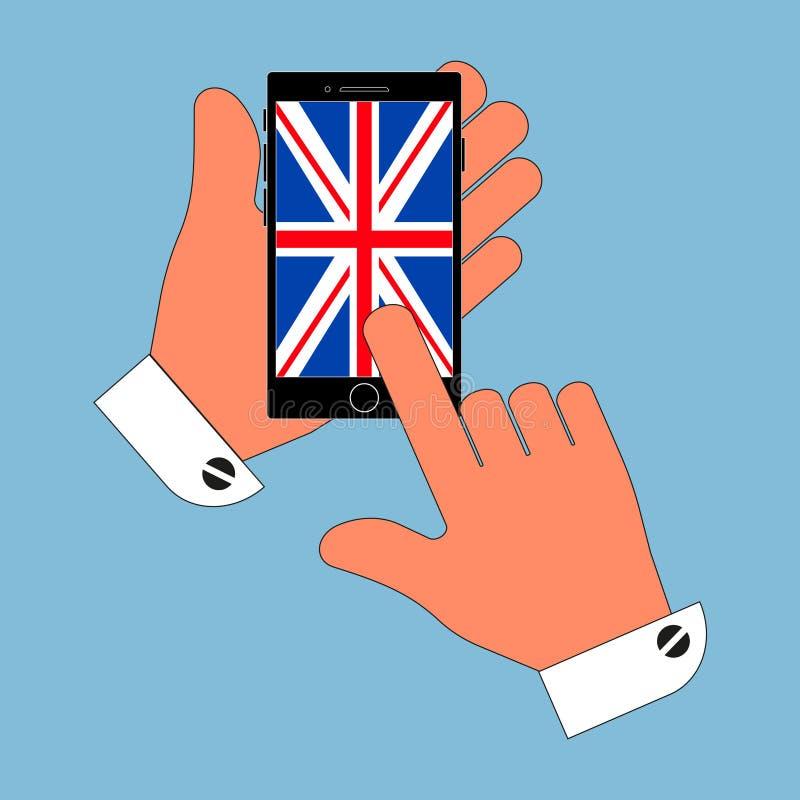 De pictogramtelefoon in zijn hand op het scherm de Britten markeren, isoleert op blauwe achtergrond Modieuze vectorillustratie stock illustratie