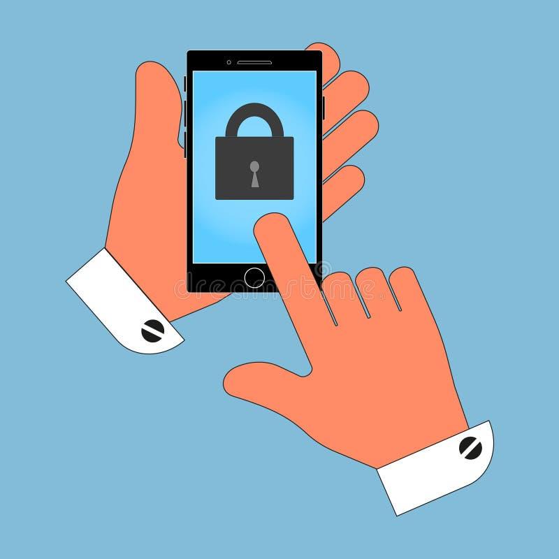 De pictogramtelefoon in zijn hand op het vergrendelingsscherm, isoleert op blauwe achtergrond stock illustratie