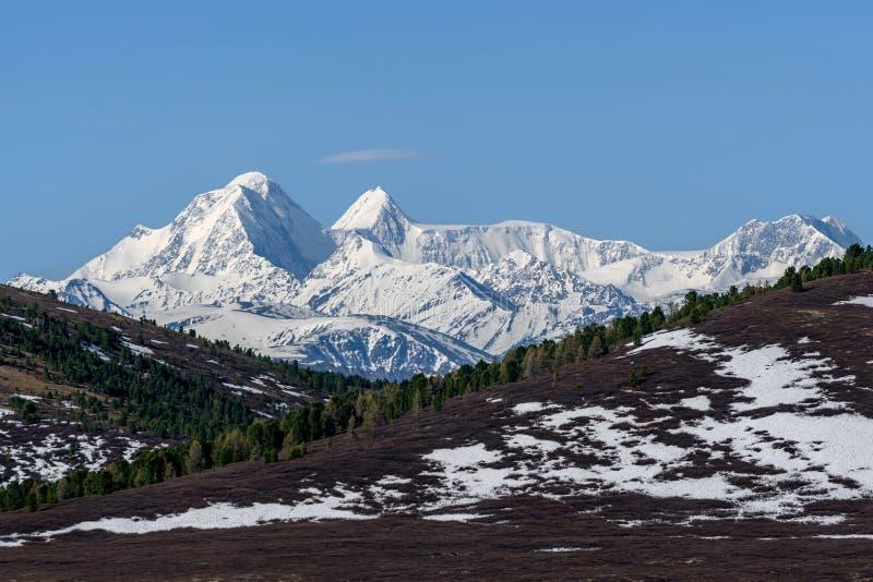 De piek hoogste hemel van de bergensneeuw royalty-vrije stock afbeelding