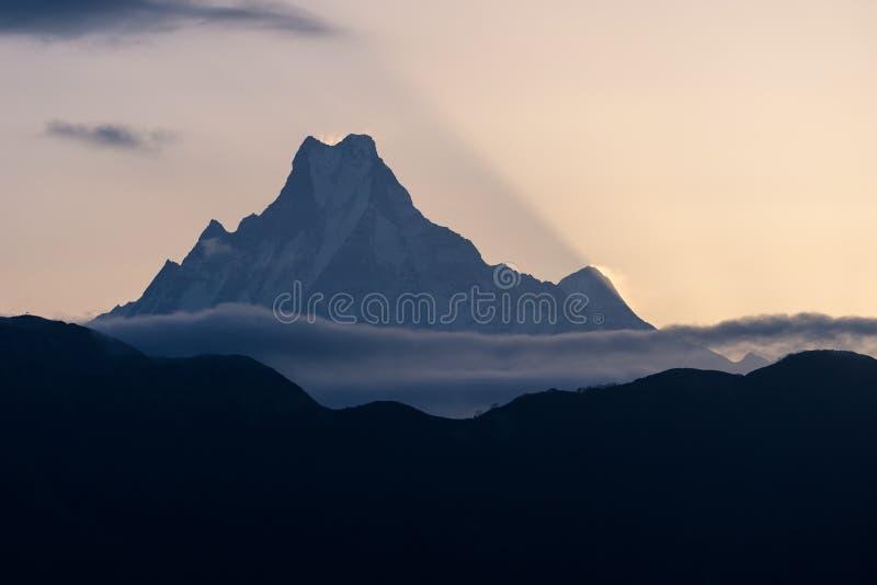 De piek van de de staartberg van Machapuchrevissen bij zonsopgang, Annapurna-basis royalty-vrije stock fotografie