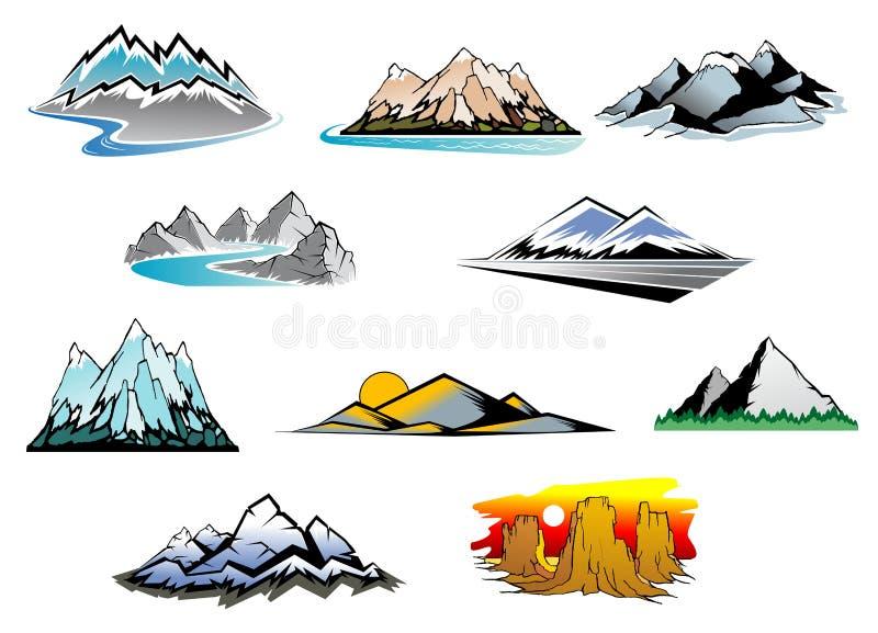 De pieken van de berg royalty-vrije illustratie