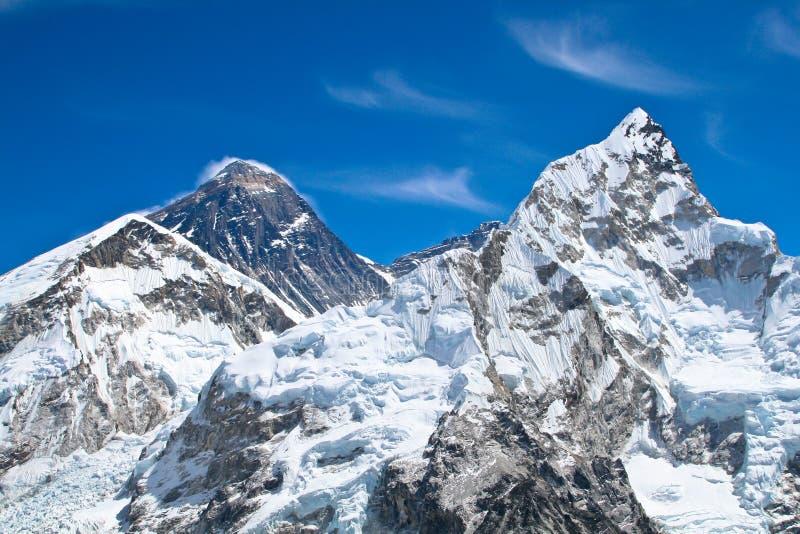 De pieken van Everest en van de berg Lhotse stock afbeeldingen