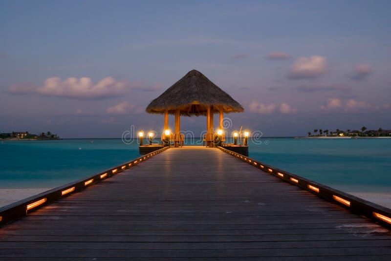 De Pier van de aankomst, de Maldiven stock foto