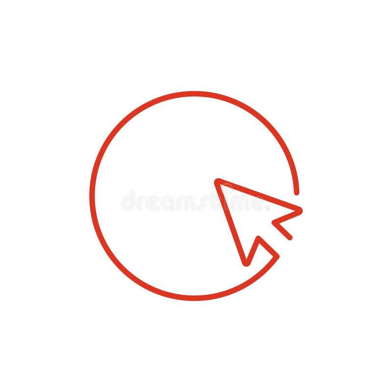 De pijl of de curseur wijzen op de richting binnen het cirkelpictogram, vectorillustratie Vlakke ontwerpstijl Editableslag stock illustratie