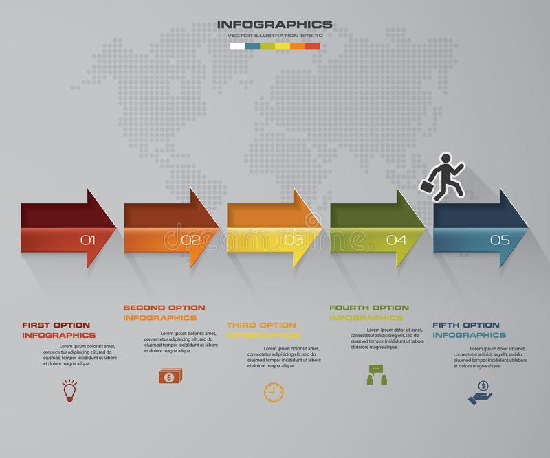de pijl infographic element van de 5 stappenchronologie kan de 5 stappen infographic, vectorbanner voor werkschemalay-out worden  vector illustratie