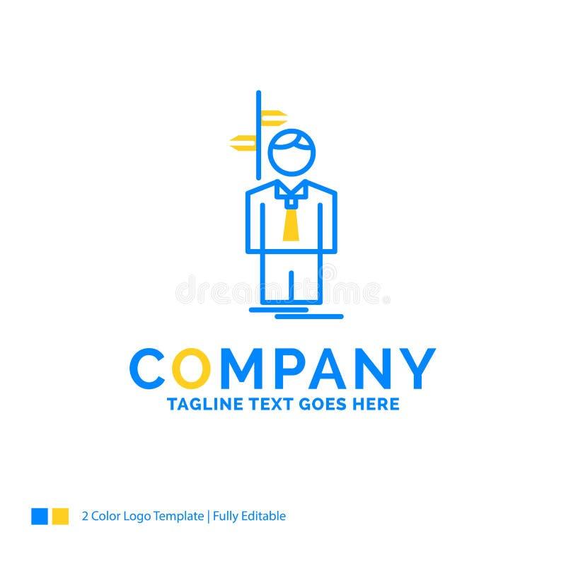 De pijl, keus, kiest, besluit, richtings Blauwe Gele Zaken stock illustratie