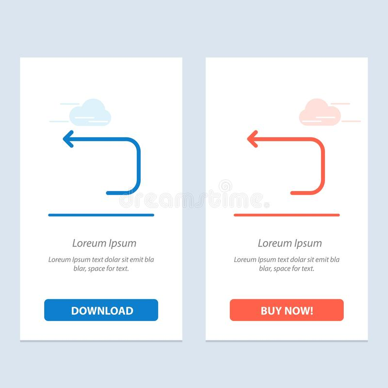 De pijl, de Lijn, de Lijnpijl, de Achter Blauwe en Rode Download en kopen nu de Kaartmalplaatje van Webwidget stock illustratie