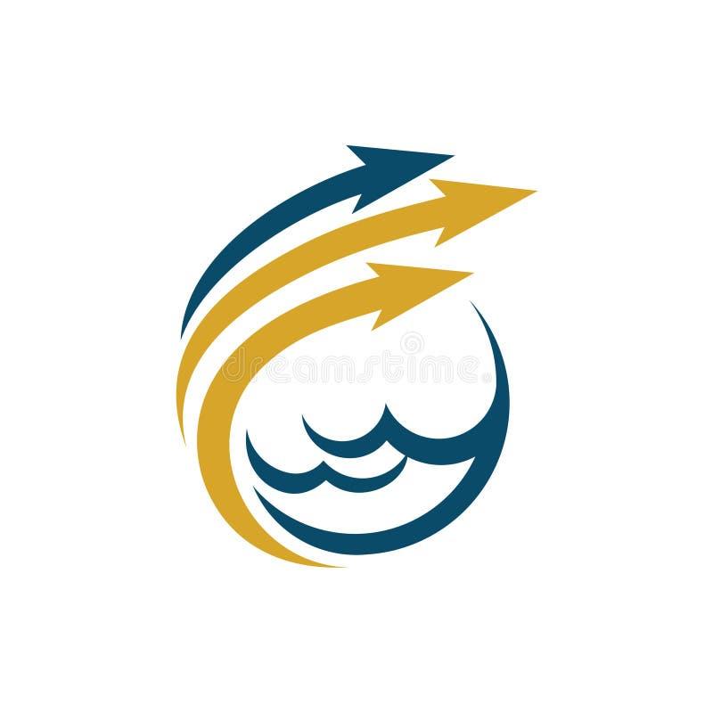 De Pijl Overzeese van Poseidontrident Financiënzaken Logo Template stock illustratie