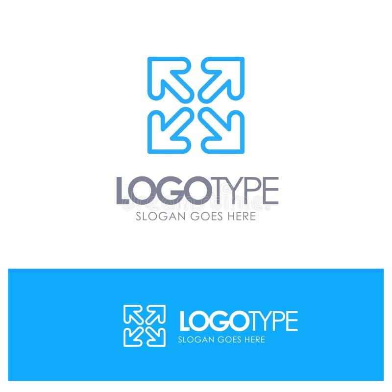 De pijl, Richting, beweegt Blauw Overzicht Logo Place voor Tagline vector illustratie