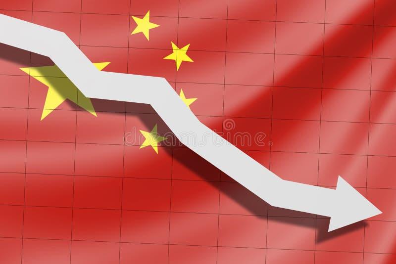 De pijl valt op de achtergrond van de vlag van China royalty-vrije stock foto