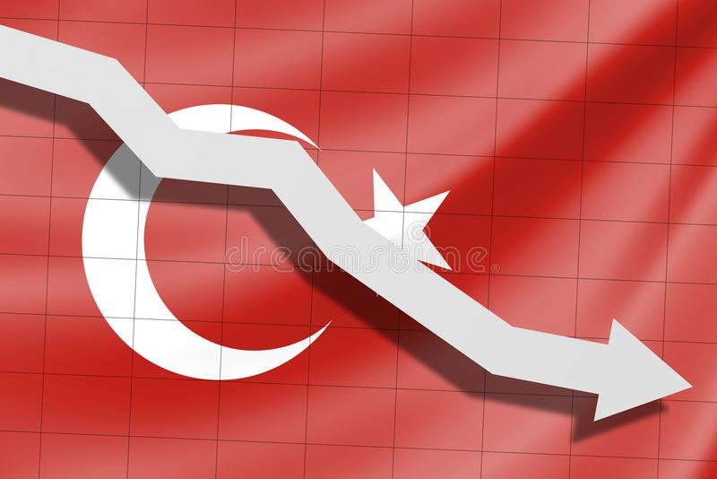 De pijl valt op de achtergrond van de vlag van Turkije stock afbeeldingen