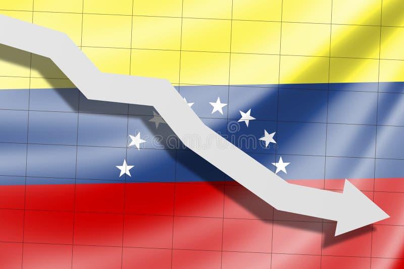 De pijl valt op de achtergrond van de vlag van Venezuela royalty-vrije stock afbeelding