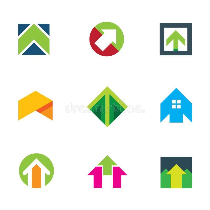 De pijl van het vooruitgangssucces tot innovatie bedrijfs creatief embleempictogram stock illustratie