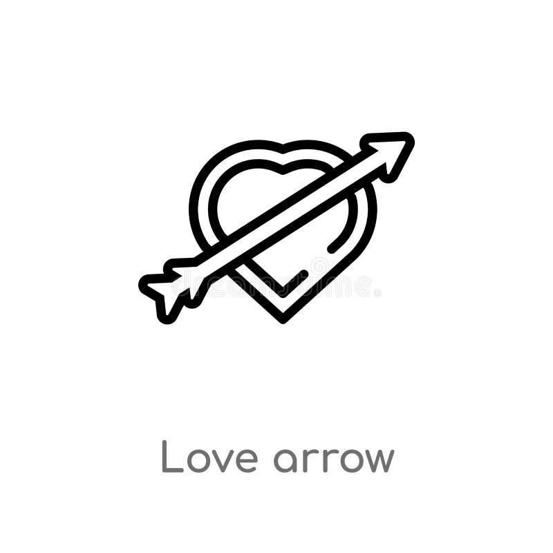 de pijl vectorpictogram van de overzichtsliefde de geïsoleerde zwarte eenvoudige illustratie van het lijnelement van liefde & huw vector illustratie