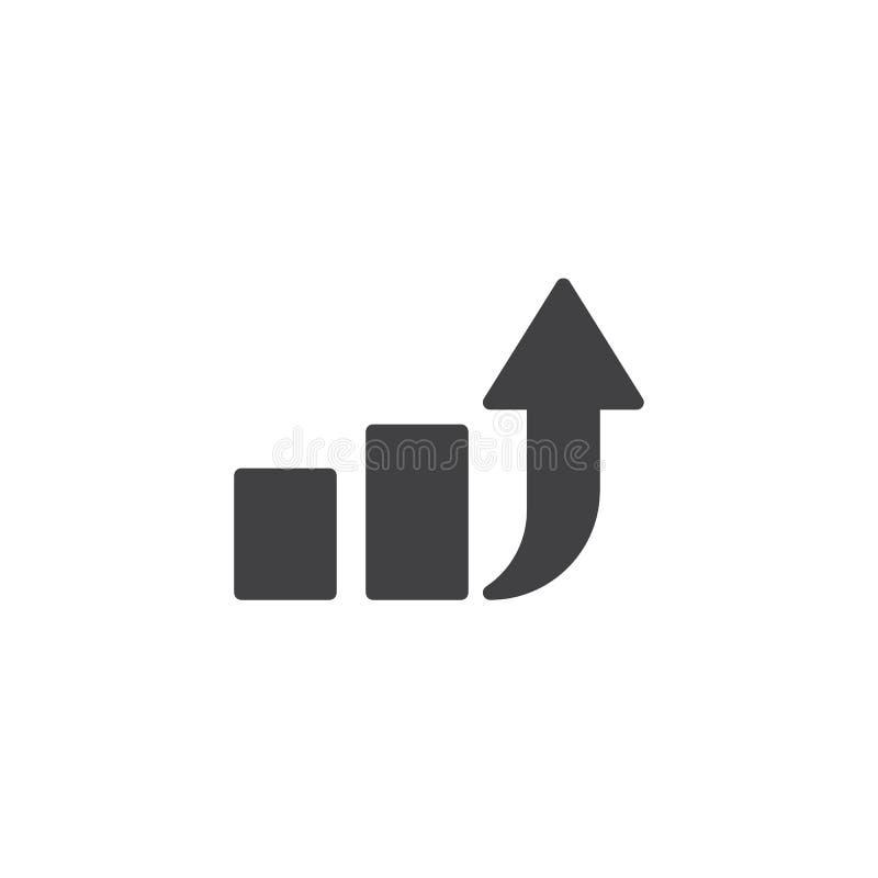 De pijl vectorpictogram van de verhogingsgrafiek stock illustratie