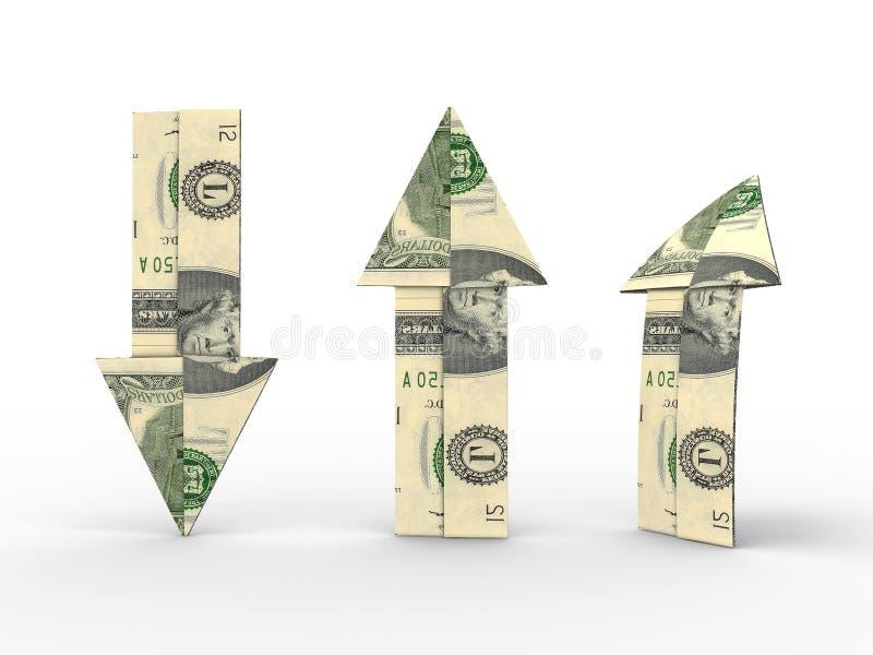 De pijlen van de dollar stock afbeeldingen