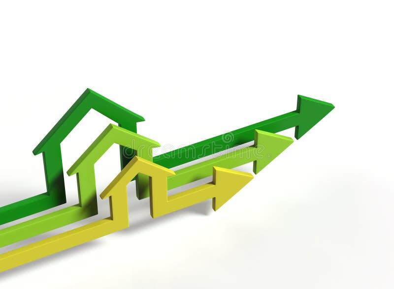 De pijlen van de huisvorm stock illustratie