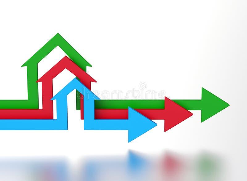 De pijlen van de huisvorm vector illustratie