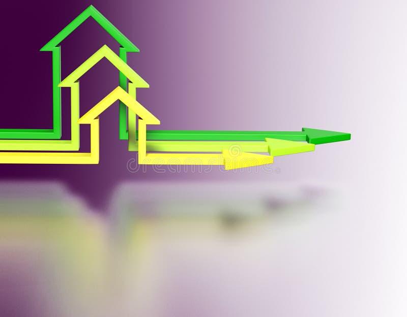 De pijlen van de huisvorm Bedrijfs concept stock illustratie