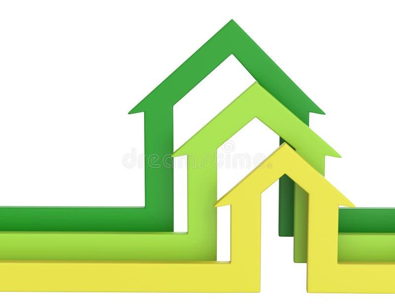 De pijlen van de huisvorm Bedrijfs concept royalty-vrije illustratie