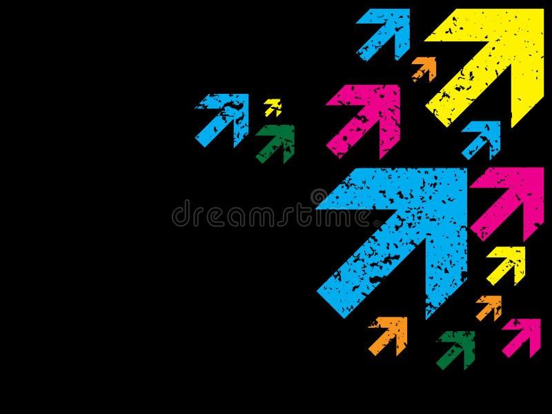 De Pijlen van de kleur grunge op zwarte vector illustratie
