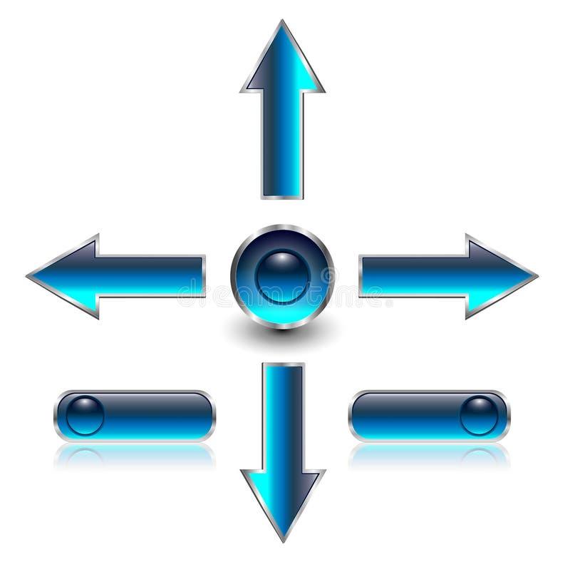 De pijlen van de navigatie, Webknopen stock illustratie