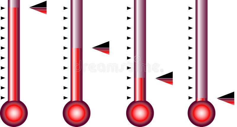 De pijlen van de thermometer of van de barometer stock illustratie