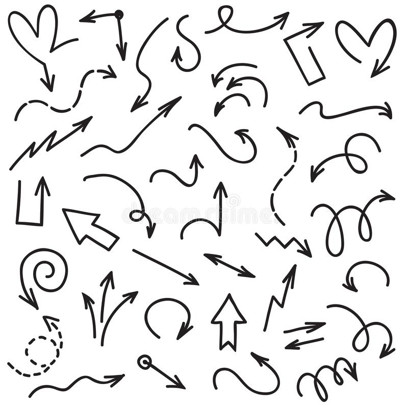 De Pijlen van de krabbel De pijlpunten van de de schetslijn van het handschriftgekrabbel Pijl op witte vectorreeks wordt geïsolee royalty-vrije illustratie