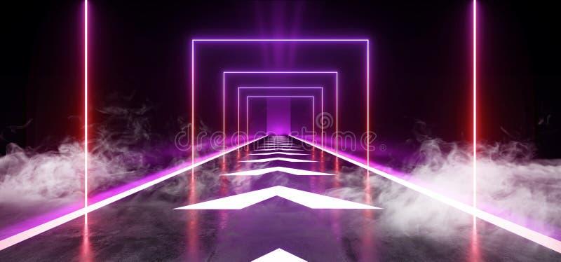 De Pijlen van de rookmist volgen de Concrete Grunge-van de Tunnel Donkere Hall Reflective Neon Glowing Sci van de Baksteengang We vector illustratie
