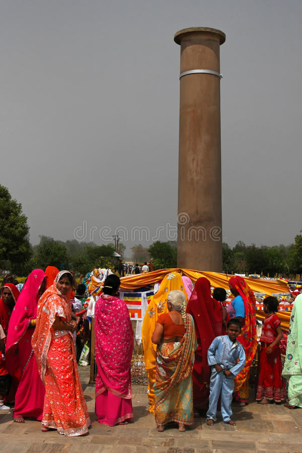 De pijler van Asokan in Lumbini stock foto