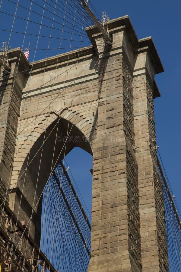 De Pijler van de Brug van Brooklyn (de Stad van New York) stock foto's