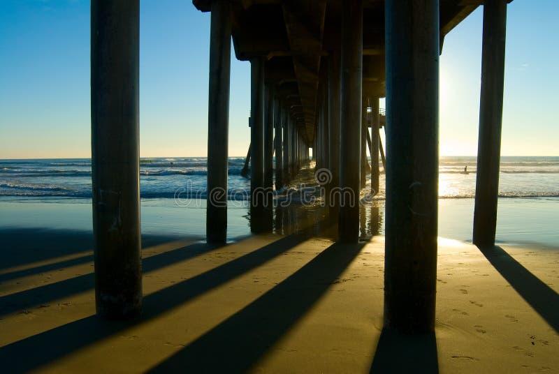 De Pijler van het Strand van Huntington stock fotografie