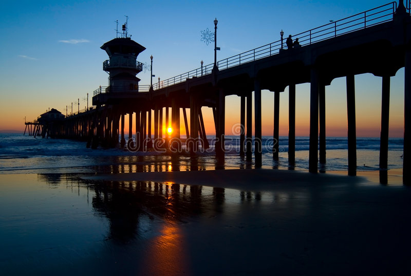 De Pijler van het Strand van Huntington stock foto's
