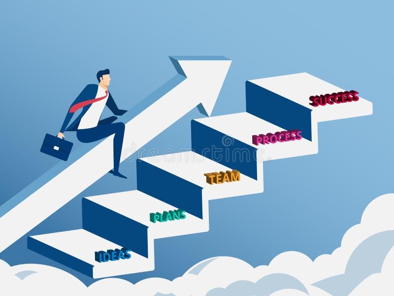 De pijlgrafiek van de zakenman berijdende groei op tredestap aan succes vector illustratie