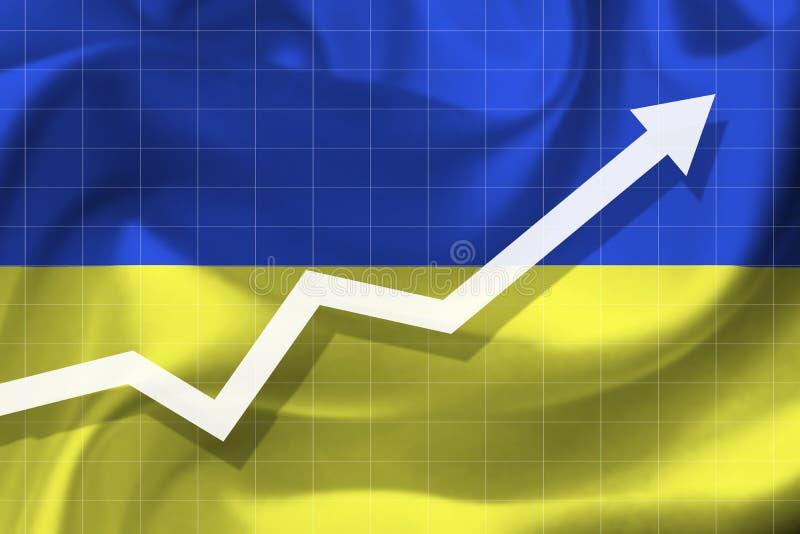De pijlgroei omhoog op de achtergrond van de vlag van Ukrai royalty-vrije stock afbeeldingen