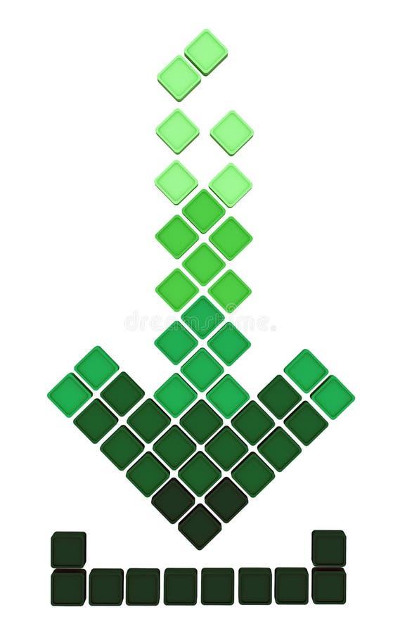 De pijlpictogram van de download dat van het vallen groene gra wordt gemaakt vector illustratie