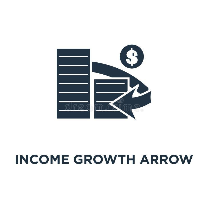 de pijlpictogram van de inkomensgroei het financiële beheer, rentevoet, mobilisering van gelden, geldrekeningen stapelt het ontwe royalty-vrije illustratie