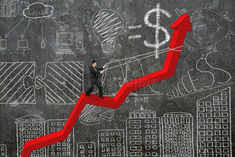 De pijlrichting van de zakenmancontrole van rode tendenslijn met doodl stock afbeelding