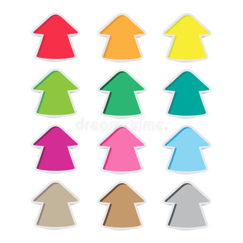 De pijlstickers hebben vele kleuren royalty-vrije illustratie