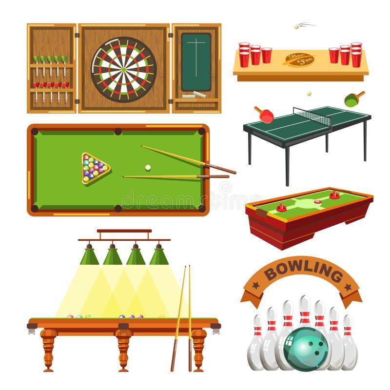 De pijltjes van het sportspel, biljart voegen, tennis of kegelenvector geïsoleerde reeks samen royalty-vrije illustratie