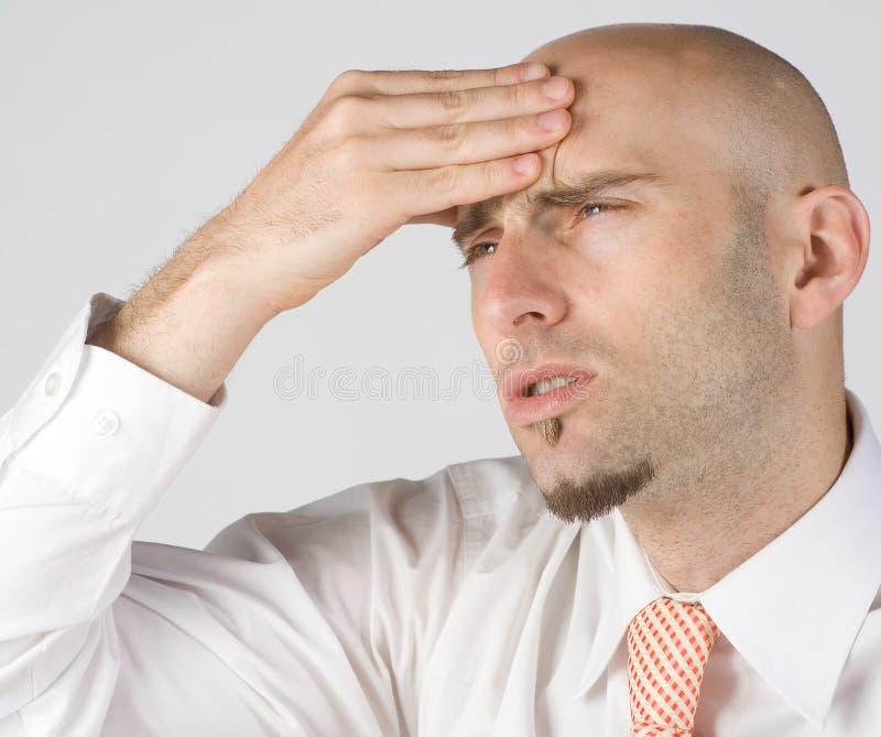 De pijn van de hoofdpijn stock afbeelding