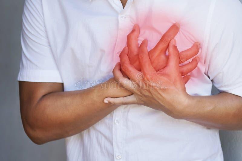 de pijn van de mensenborst van hartaanval Gezondheidszorg royalty-vrije stock afbeelding