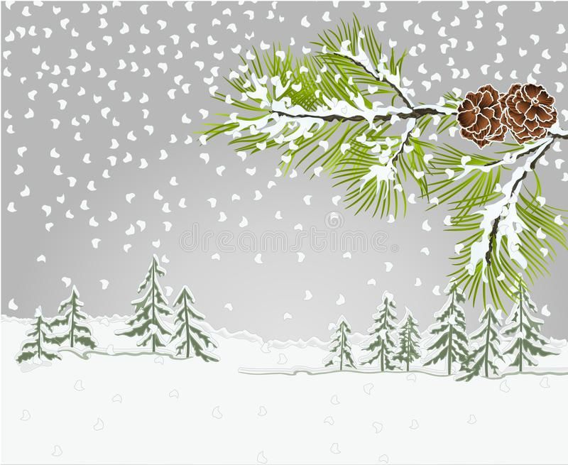 De Pijnboom van de de Naaldboomtak van het de winterlandschap met denneappels met sneeuwkerstmis als thema heeft uitstekende vect stock illustratie